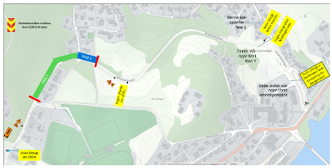 STENGT: Deler av Bergerbakkvegen stenges på grunn av rehabilitering av veg. Omkjøring vil bli skiltet.