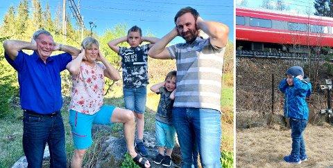 BRÅK: Svein Harald Lunde (fra venstre), Marianne Jensrud og Alexander Brustad er talspersoner for 45 beboere som har klaget på at Bane Nor ikke vil bygge støyskjerm langs Gjøvikbanen. Brustads sønner Christoffer André (8) og Adrian (3) er også lei av bråket.