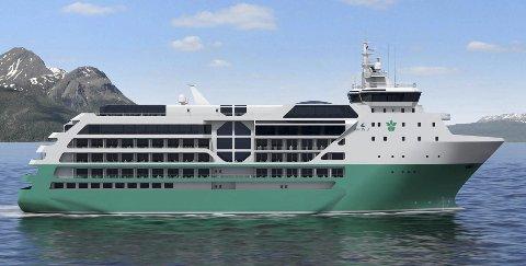 Mål om 2021: Skipet er endå berre ei teikning, men Parnefält har trua på at dette skal gå i hamn innan 2021-sesongen.Illustrasjon: Wärtsilä