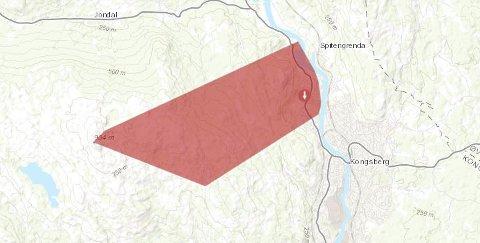Det røde området markerer hvor det var  strømløst på Kongsberg.