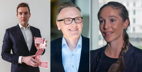 Samstemte: Aksel Øverland Engebakken i ABG Sundal Collier (f.v.), Espen Furnes i Delphi Fondene og Henriette Trondsen i Arctic Securities anbefaler alle å investere i aksjeselskapet.
