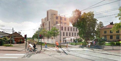 HOLTVEIEN 2: Det foreligger planer for området som i dag huser Sporveiens brakke. Skisse: Oslo kommune