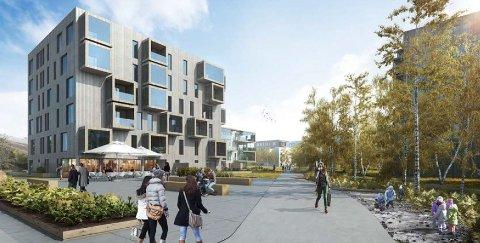 MANGE BOLIGER: Einerhagen skal etter planen utbygges med 620 leiligheter. I en av blokkene er det planlagt mulighet for etablering av offentlig møtested eller cafe i første etasje.