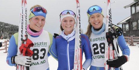 Juniorjenter: Kristine Alm Karsrud (f.v), Susann Sagstuen og Marthe Lindmoen fortsetter å gå fort på ski. Arkivbilde