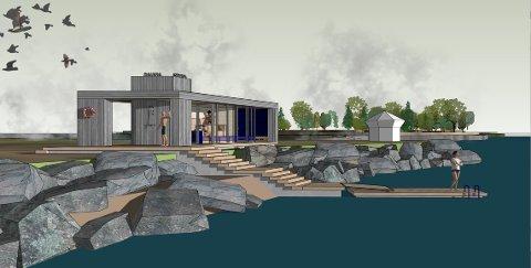BADSTUA: Det nye forslaget til badstua er tegnet på land.