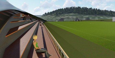 NY TRIBUNE: Slik vil den nye tretribunen på Gjøvik stadion se ut. Arbeidene starter opp rett etter påske.