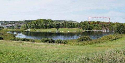 FARRISKILEN: Fotomontasje sett fra Farriskilen friområde. Avstanden er 3,5 kilometer. Her vil alle tre turbinene stikke opp over vegetasjonen og terrenget.
