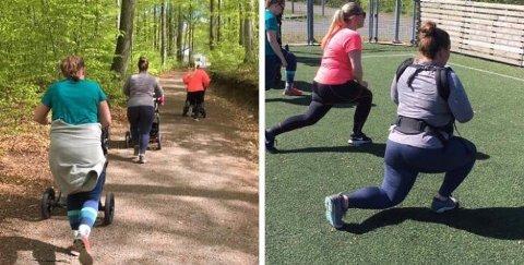 UTE OG INNE: Eva Høddø arrangerer trening både ute og inne for mødre og babyer.