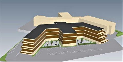 Sjukehjem: Slik kan et nytt sjukehjem bygges på dagens tomt i Jensstuevegen mener Magne Bergseth. Han kaster inn skissene etter høringfristen for byggeplanene i Parkvegen i et siste forsøk på å få flere politikere til å se muligheter på dagens tomt.