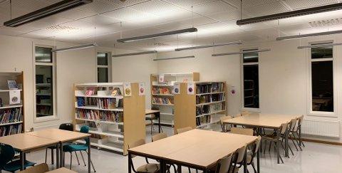 Nye Løvenstad skolebibliotek med god plass til en klasse, merkede bøker i ryddige hyller med god plass.