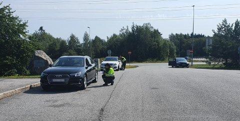 Bilene ble vinket inn på Kløfta.