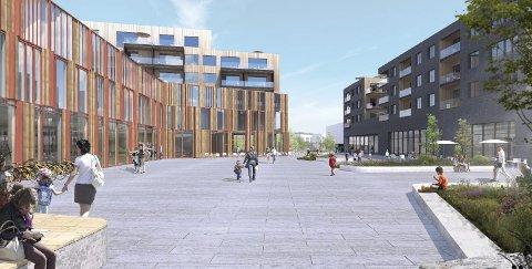 FJERDINGBYTORGET: Denne skissen viser kulturhuset Ravinen til venstre og Rema 1000 til høyre. (Ill.: Rælingen kommune)