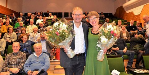 PÅ TOPP: Senterpartiets toppkandidater, Terje Riis-Johansen og Kathrine Kleveland.