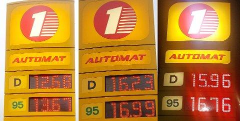 STOR VARIASJON: Samme dag vekslet det voldsomt i literprisen på drivstoff på en av bensinstasjonene i Sandefjord. Foto: Vidar P. Andresen