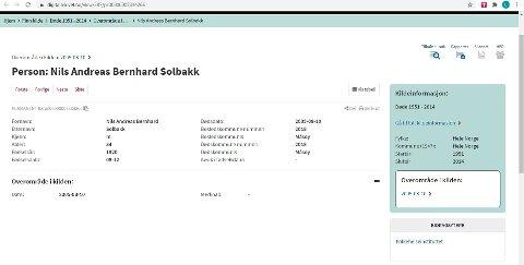 Journalistens bestefar døde i 2004 og er derfor registrert i Digitalarkivet.
