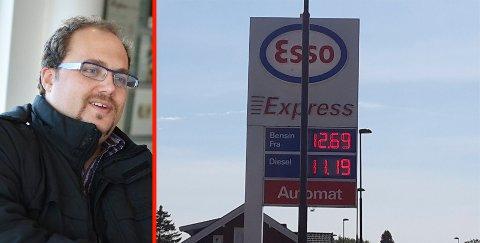 SKILTFEIL: Nikolai Paulsen sendte klage til Esso etter at han og flere ble fakturert for mer enn det prisen viste på skiltet ved Esso Express-stasjonen på Sem mandag.