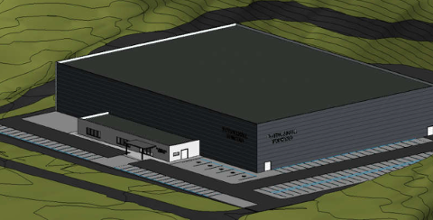 HALL: Et tenkt forslag over hvordan en fotbasllhall på Tonstad kan bli seende ut.
