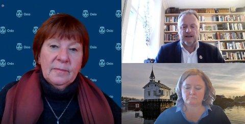I mandagens møte i forretningsutvalget orienterte byrådsleder Raymond Johansen (Ap) om koronasituasjonen. Til venstre ordfører Marianne Borgen (SV), nederst til høyre Høyres gruppeleder Anne Haabeth Rygg.