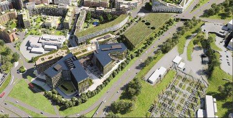 BYGGER PÅ ULVEN: Construction City er 103 000 kvadratmeter stort og skal huse 4500 arbeidsplasser når det står klart i 2025.