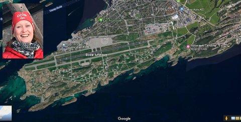 Et satellittbilde viser at flyplassområdet og området vestover mot Bodøsjøen har store grøntarealer. Naturvernforbundet spør om Bodø kommune har en plan for bevaring av matjord i den nye planen