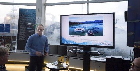 Nytt konsept: Wenberg Fiskeoppdrett ved Geir Wenberg gå sammen med Edelfarm og søker utviklingskonsesjoner. Teknologien leveres av Technip FMC ved manager i OceanTech Idar Lindanger. Her fra presentasjonen i fjor høst av konseptet. Foto: Per Torbjørn Jystad