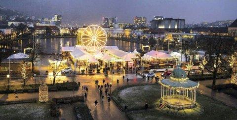Julemarked: Slik ser julemarkedet i Bergen ut. Noe lignende ønsker Harald Ingebrigtsen å arrangere i Drammen.