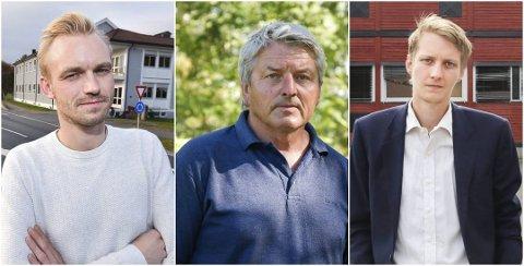 BLIR ORDFØRER: Knut Kvale (i midten) vant ordførerkampen i Øvre Eiker etter å ha gått sammen med Ap og Niclas Tokerud. Høyres Adrian Tollefsen (t.v.) havner i opposisjon.