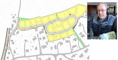 SKUFFET: Til venstre på kartet skal det bygges en vei over jordet til Thor Gunnar Bakkerud. Han forteller det først var snakk om 18 boliger, men nå har det økt til nærmere 180.