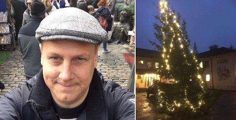 ÅRLIG FENOMEN: Også i år står ting på skjeve når det gjelder Råde kommunes julegran, melder ordfører René Rafshol.
