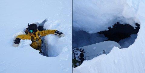 SPREKK: Eirik Ekran fikk akkurat tatt seg for da han ramlet ned i en sprekk i snøen på Storsteinnestinden søndag.