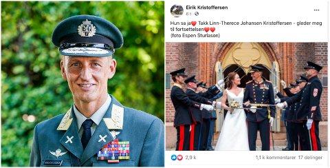 BRYLLUP: Eirik Kristoffersen og Linn-Therece Johansen giftet seg i Horten lørdag.
