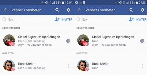 NORD-TRØNDELAG: Skjermdumpen til venstre viser hvor nettstedet Facebook plasserte Gran før tirsdag, og på høyre side ser du resulatet etter vi rapporterte om feilen.