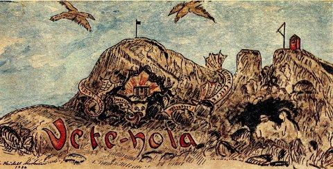 Fantasi: Denne tegningen som illustrerer sagnet om Vetehola laget Sigurd Meidell Andersen (1912 – 1988) i 1934. Han hadde kunstneriske evner og som ung gikk han på tegneskolen til Lars Fjeld. Han vokste opp på Andølingen og ble som voksen utdannet trykker. I 1952 startet han opp Kragerø Aksidenstrykkeri.