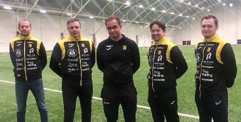 NYTT TRENERTEAM: Hovedtrener Christian Johnsen (i midten) sammen med (f.v.) Kristoffer Lie, Jarl André Storbæk, Kai Erik Moen og kristoffer Vangen Lysgård.