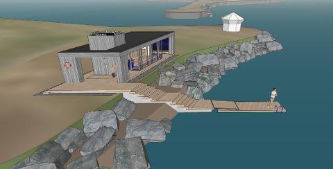 KONFLIKT: Skissen av badstubygget er utdatert, men badetrappen er plassert på samme sted seilforeningen mener er til fare for de badende.