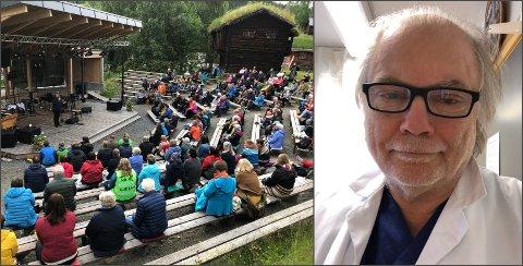 MANGE METERE: Under konserten med Kim Andre Ryssdal på Hilme-stemnet lørdag kveld var folk flinke til å holde meteren. Det kan bli enda viktigere når det nå åpnes for mer turisme, mener kommuneoverlege Per Einar Jahr i Nord-Aurdal.