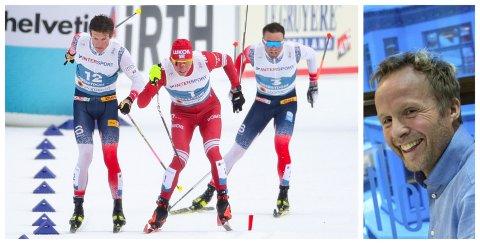 DRAMATIKK: Her er hendelsen som har valt stor debatt både i Russland og Norge. Bak Johannes Høstflot Klæbo og Alexandr Bolsjunov halser Emil Iversen, som ble tildelt gullet til slutt.