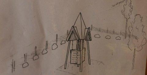 MINNEPARKEN: Minneparken blir litt grovt sett slik. I tårnet skal det henge plater med navn fra den finske bosettingen.