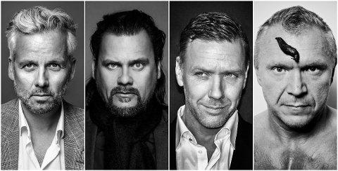 STILLER UT: Ari Behn, Per Heimly, Mikael Persbrandt og Tor Rafael Raael kommer til Askim. Foto: Pressefoto