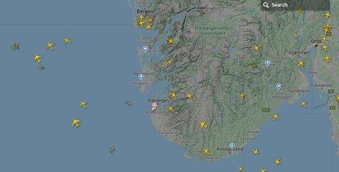 Trafikken over Sør-Norge fredag 13. mars klokken 11.20.