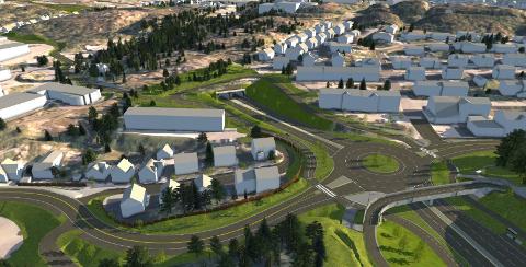 Tunnel-løsning: Trafikken gjennom en tunnel i to løp på ca. 470 meter med innslag ca. ved dagens rundkjøring ved Matkroken på Nordlandet og utløp ved dagens kryss Vikansvingen / Nordmørsveien på riksvei 70.