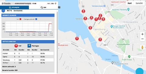 STRØMBRUDD: Flere hundre mistet strømmen på Kaldnes og i Tønsberg Sentrum.