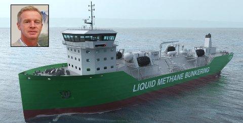 MILJØVENNLIGE: Skipene Kanfer har designet, i samarbeid med CGR Arctic Marine AS, har en totallengde med både taubåt og lekter på 110–120 meter og kan transportere 5.000-20.000 kubikkmeter flytende naturgass (LNG) og 500 kubikkmeter diesel. Skipene går på en kombinasjon mellom naturgass og batteri. Eier av Kanfer Shipping, Stig Hagen, sier skipene blir de mest kostnadseffektive og miljøvennlige bunkerskipene.