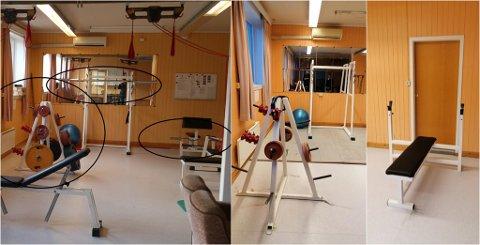 FØR OG NO: Bilde til venstre viser korleis det skal sjå ut på treningsrommet. Dei to andre viser korleis det ser ut no.