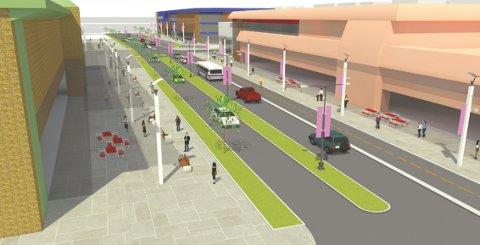 MÅ OPNE SEG: Handelshusa er ein livsnerve for Førde som næringssentrum, men dei bør opne fasadane og aktivere gateromma rundt seg, går det fram av forslaget til sentrumsstrategi. Illustrasjon: Fortunen Arkitektur AS.