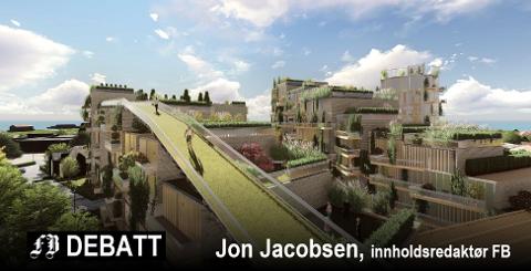 Spektakulært: Fugleperspektiv på hvordan arkitekt Niels Torp ser for seg fremtidens Cicignon Park. En 170 meter gangvei over hustakene kan bli Fredrikstads light-versjon av operataket.