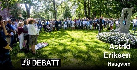 22. juli. Bilde fra minnemarkeringen i Fredrikstad i 2017.