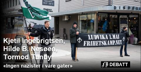 Den nordiske motstandsbegevelsen demonstrerte i Fredrisktad den 7. april. Det er hva innbyggerinitiativet «Ingen nazister i våre gater» ønsker å forby.  Arkivfoto: Elisabeth Skovly