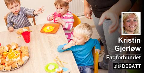 – Barnehagen er en pedagogisk virksomhet hvor da ansatte trenger tid til å planlegge, vurdere og evaluere. Denne tiden må kompenseres for, med flere ansatte hele dagen, mener Kristin Gjerløw og Fagforbundet.