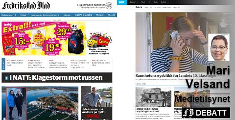 Fredriksstad Blad og NRK Østfold, to nyhetsnettsteder med ulikt uttrykk og ulik finansiering. – Medietilsynets brukerdata indikerer at økt tidsbruk hos NRK ikke har redusert nyhetskonsumet hos kommersielle nyhetsnettsteder, skriver tilsynets direktør Mari Velsand.